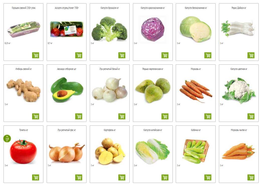Каталог овощей в Окей