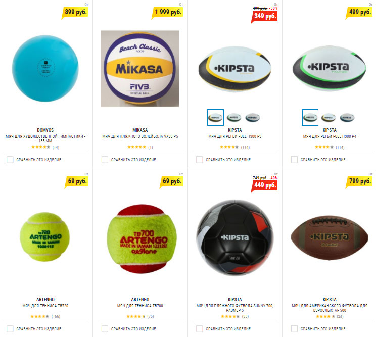 Каталог мячей в Декатлон